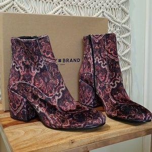 Lucky Brand Paisley Brocade Velvet Block Heel Boot